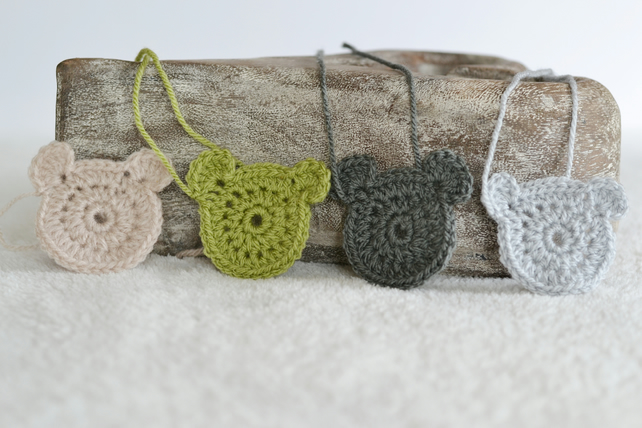 4 Crochet Teddy Bear Applique Motifs