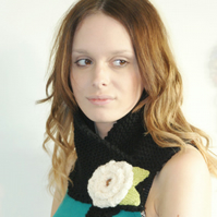 REDUCED PRICE Chunky Cowl Neckwarmer Knit Flower Cowl Black
