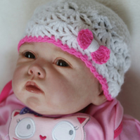 3 - 6 Months Baby Girl Hat,  Bow Hat