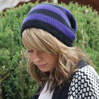 Purple and Black Stripey, Knitted, Slouchy, Slouchy Knit Beanie, Thick Dreads