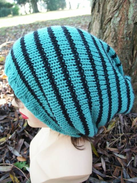 Slouch Hat Knit, Beanie Hat, Unisex, Jade and Black Dreads, Tam Hat