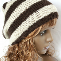 Hand Knitted, Slouchy Beanie, Tam, Dreads Hat
