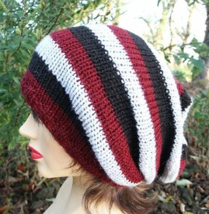 Knitted Oversized Slouchy Beanie, Black Burgundy Gray