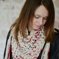 Chunky Knit Cowl, Cream and Red Knitted Neck Warmer