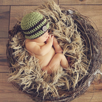 Newborn Baby Beanie Meadow Green Hat Photo Prop