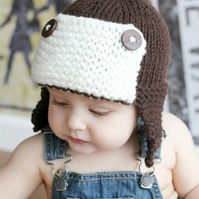 "Baby Boys Toddler hat kids Hat Knit hat Newborn - ""2T sizes Aviator pilot hat"