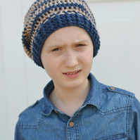 Boys Crochet Slouch Stripey Beanie Hat Age 6 Years to 10 Years