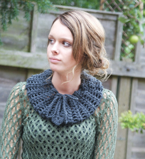 Neck Warmer  Crocheted Lacey Collar Heart