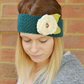 Knitted Flower Headband  Earwarmer