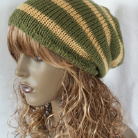 Unisex Slouchy Beanie, Mens, Womens, Hand Knitted, Tam, Dreads, Hat, Stripey