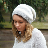 Grey and Cream Slouchy Hat, Slouchy Beanie