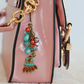 Hand Bag Charm Peacock Gold Colour with Turquoise, Red and Dark Silver Beads