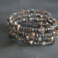 Silver and Gold Crystals Wrap  Around Bracelet