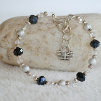 Silver and Black Crystals Wire Charm Bracelet