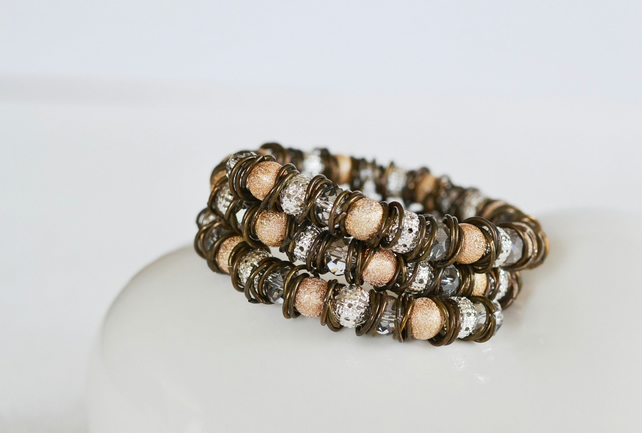 Silver and Gold Hoop and Beaded Wrap  Around Bracelet