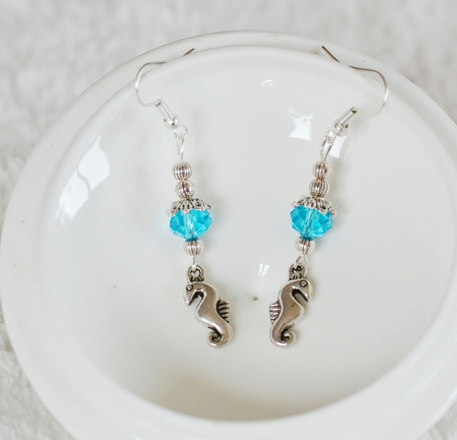 Seahorse and Blue Swarvoski Crystal Drop Earrings