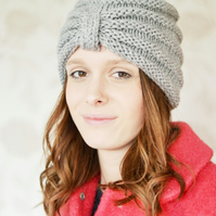 Knitted Turban Beanie Hat, Warm Chunky Hat, Knitted, Grey, Knit hat,