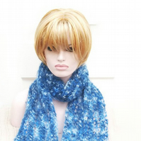 Mohair Hand Knitted Lacey Womens Scarf Warm Cosy