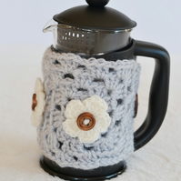 Grey 3 Cup Crochet  Caffettiere Cozy with Flowers