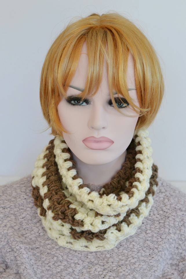 Cream and Mink Crochet Cowl Neck  Warmer
