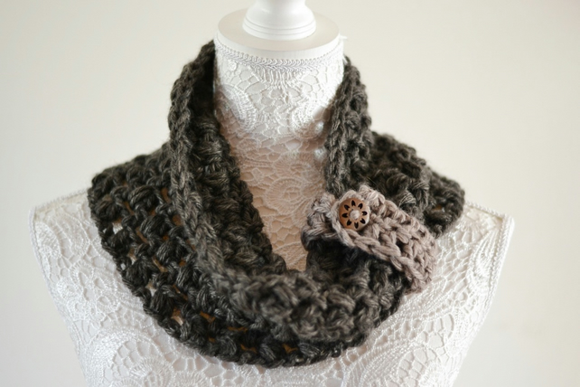 Chunky Crocheted Infinity Scarf Dark Brown Mohair Wool