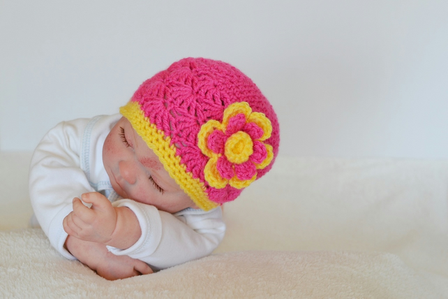 Newborn Baby Girls Flower Beanie Hat  Raspberry Pink and Sunflower Yellow