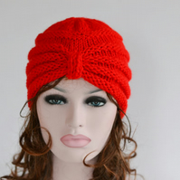 Red Knitted Turban, Turban Hat, Knit Hat, Chunky Hat, Beanie Knit , Winter Hat