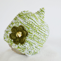 3-6 Months Chunky Knit Pixie Hat, Meadow Green and White Flower Photo Prop Hat