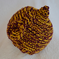 Baby Boys Elf Leaf Pattern Hat,Newborn Beanie,Plum and Mustard Chunky Knit