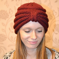 Turban style beanie hat knitted in burgundy