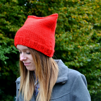 Red Chunky Knit Kitty Beanie Hat
