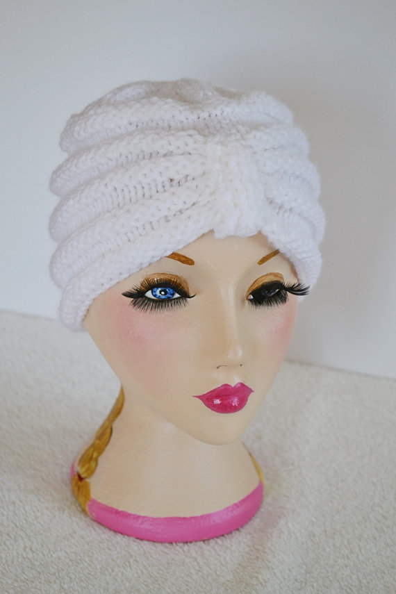 Turban style beanie hat knitted in White
