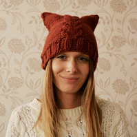 Rust Cat Hat Womens Knit Beanie