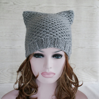 PDF Beanie Cat Hat Knitting Pattern Tutorial