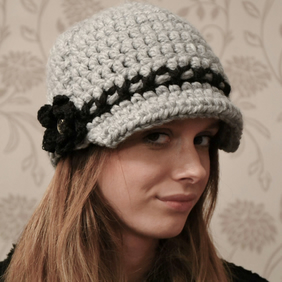 Chunky Newsboy Hat, Baker Boy Hat, with Black Flower