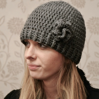 Womens Aran Dark Grey Beanie Hat with Flower