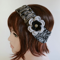 SALE Knitted Headband Ear, Black Grey, 7T - Adult Warmer Chunky Knit Hairband