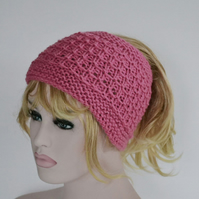 PonyTail Hat, Hair Wrap, Raspberry Sorbet KeepFit Yoga Headband