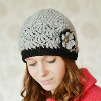 Womens Grey Beanie Hat, Warm Chunky Hat