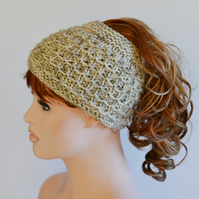 PonyTail Hat, Hair Wrap, Cream and Grey KeepFit Yoga Headband