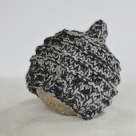 Baby Boys Elf Hat, Newborn Beanie, Charcoal and Grey Chunky Knit
