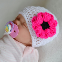 3 - 6 Months Baby Girl  Poppy Flower Hat, Newborn Beanie, Crochet,