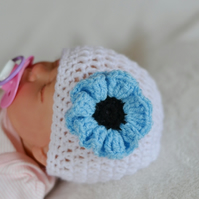 3 - 6 Months Baby Girl White and Baby Blue Poppy Flower Hat,