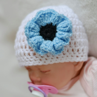 Newborn Baby Girl White and Baby Blue Poppy Flower Hat,