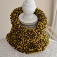 Brown and Mustard Mock Polo Neck Knitted Cowl Neck  Warmer