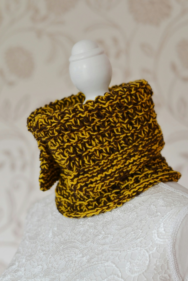 SALE was 14 Brown and Mustard Mock Polo Neck Knitted Cowl Neck  Warmer