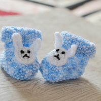 0 - 3 Months Unisex Bunny Knitted Baby Booties