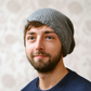 Unisex Grey Knitted Slouchy Beanie Hat