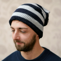 Mens Womens Unisex Navy and Grey Slouchy Hat
