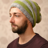 Mens Grey and Meadow Green Knitted Oversized Slouchy Beanie